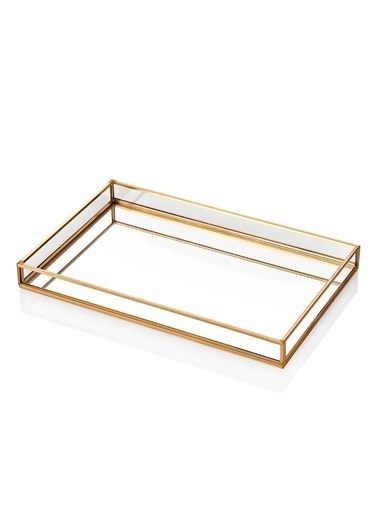 The Mia Brass Dekor Tepsi 30 x 20 Cm Renksiz